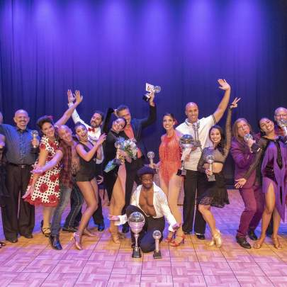 Dancing with the Martin Stars 2019 cast of instructors and star dancers:  Laura Crawford and Bob Murray, Amy Snow and Brian Spector, Megan Acosta and David Bradford, Marianella Tobar and Eddie Arguelles, Overall Winners Travis Scott and Maggie Slobasky, Fabi Gonzalez and Faith Mary Angela, Dean Lopes and Bimika Salois, Craig Calvin and Kim Brisky. Photo Liz McKinley